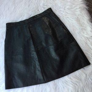 Black Back Zipper Pocket A Line Mini Leather Skirt